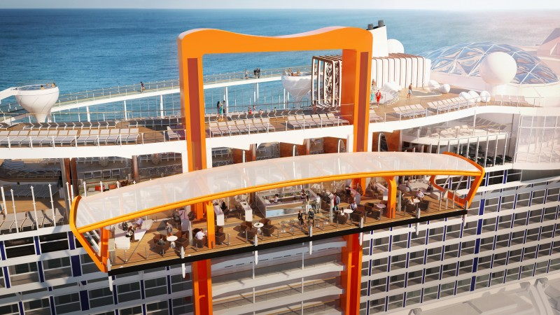 Perched on the starboard side of the ship, the Magic Carpet makes Celebrity Edge's distinctive, sleek profile recognizable from miles away. With its stunning, open-air panoramic, outward-facing ocean views, Magic Carpet is designed with a yacht-like, breezy, and casual vibe, with comfortable seating, a full bar, and space for live music performances, making it the place to see and be seen. The size of a tennis court, this incredible engineering feat is the world's first cantilevered venue that travels 13 stories. This spectacular space is repositioned alongside several decks and transforms into a new and exciting venue depending on which deck it's positioned.