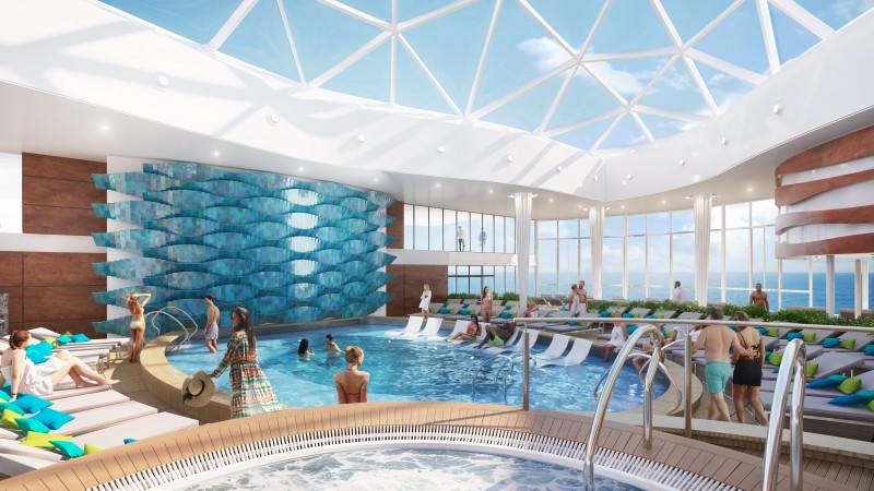 Also on the expansive Resort Deck, which stretches from bow to stern of the ship, is one of the most popular spaces on any Celebrity ship – the adults-only Solarium. Celebrity Edge continues the tradition of offering a covered pool area where adults can unwind in modern luxury style.