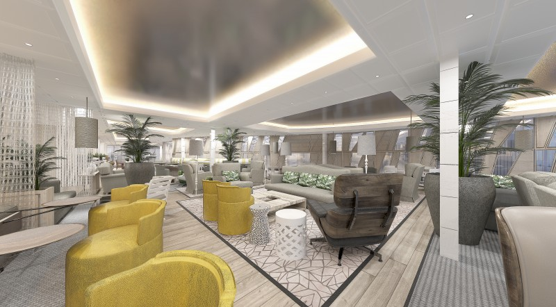 The Retreat Lounge, located just below The Retreat Sundeck and open around the clock, touches the sea on both the port- and starboard sides, offering seemingly endless ocean views. Inside, designer Kelly Hoppen has created a warm and inviting space that has the air of a sophisticated sunroom.
