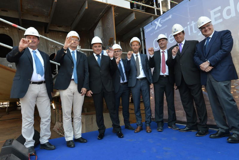 Photographed from left to right: Xavier Leclercq, SVP, Newbuild & Innovation, Royal Caribbean Cruises, Ltd.; Laurent Castaing, General Manager, STX France; Costas Nestoroudis, Captain of Celebrity Edge; Jean-Yves Jaouen, Operations Senior Vice President, STX France; Sebastien Le Boulluec, Project Manager, STX France; Petteri Heimo, Project Manager, Celebrity Edge, Royal Caribbean Cruises Ltd.; Kari Pihlajaniemi, Director, Head of Newbuilding & Innovation Center, Royal Caribbean Cruises Ltd.; and Harri Kulovaara, Executive Vice President New Build and Innovation, Royal Caribbean Cruises, Ltd. Photo Courtesy of STX France – Bernard Bige