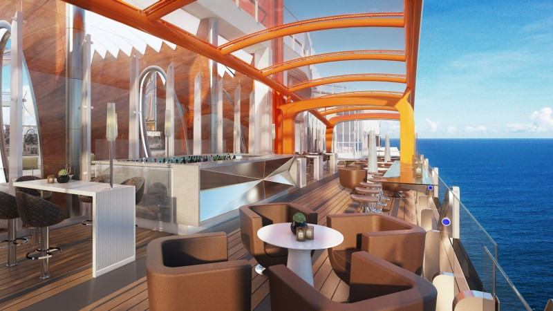 Perched on the starboard side of the ship, the Magic Carpet makes Celebrity Edge's distinctive, sleek profile recognizable from miles away. With its stunning, open-air panoramic, outward-facing ocean views, Magic Carpet is designed with a yacht-like, breezy, and casual vibe, with comfortable seating, a full bar, and space for live music performances, making it the place to see and be seen. The size of a tennis court, this incredible engineering feat is the world's first cantilevered venue that travels 13 stories.This spectacular space is repositioned alongside several decks and transforms into a new and exciting venue depending on which deck it's positioned.