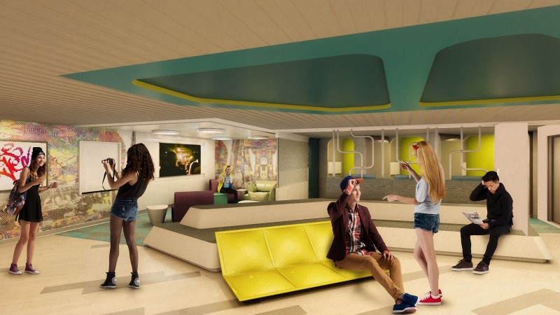 On Celebrity Edge, the brand is excited to introduced The Basement, an exclusive hangout designed with teens in mind.The space, inspired by an urban loft, features three customized Xbox One X gaming pods, a one-of-a-kind 55-inch digital graffiti wall, and the brand's first ever cloub-based jukebox, among other exciting offerings.