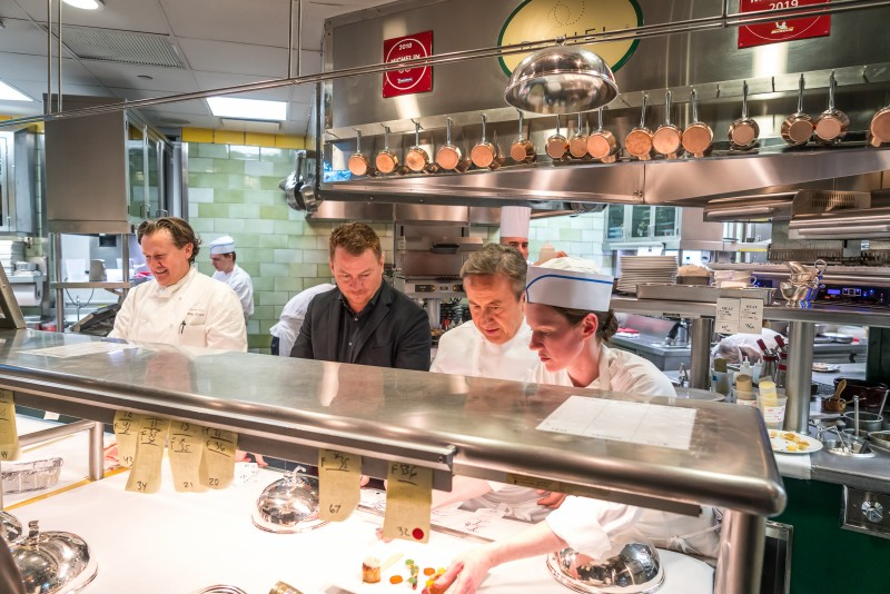 Cornelius Gallagher, Celebrity Cruises, AVP Food and Beverage Operations, with Chef Daniel Boulud, cooking together at Daniel