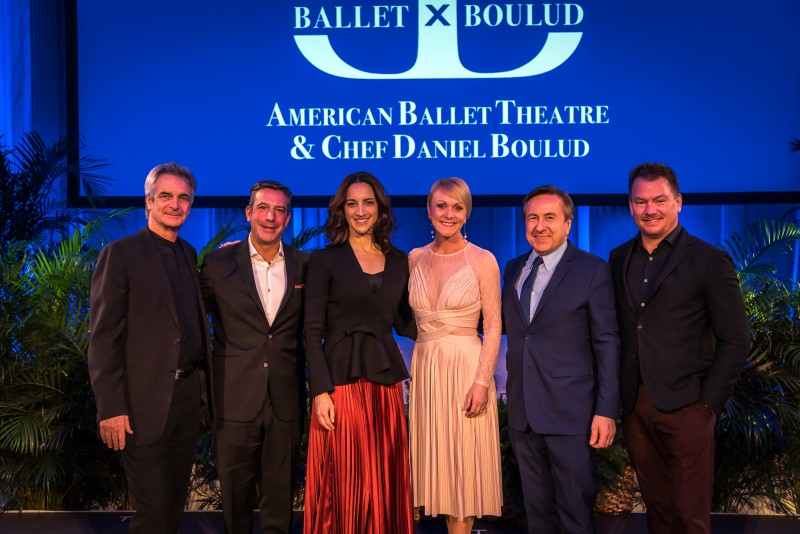 Left to Right: American Ballet Theatre's Artistic Director Kevin McKenzie; Celebrity Cruises' SVP of Hotel Operations Brian Abel; American Ballet Theatre's Executive Director Kara Barnett; Celebrity Cruises' AVP of Entertainment Becky Thomson Foley; Chef Daniel Boulud; and Celebrity Cruises' AVP of Food and Beverage Operations Cornelius Gallagher.