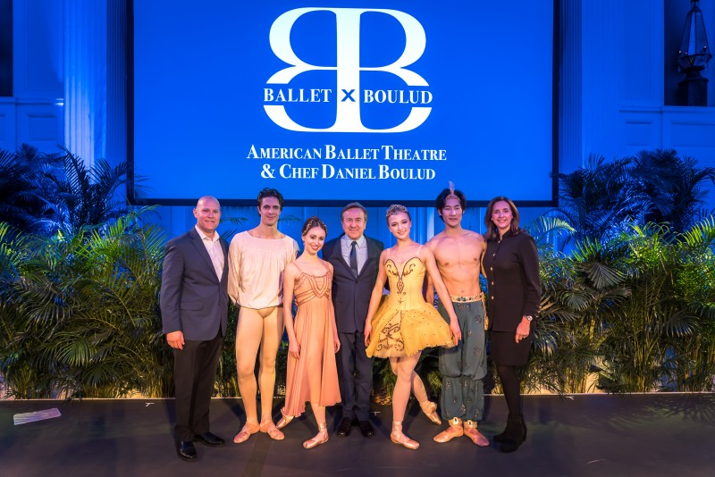 Left to Right: Celebrity Cruises' AVP of Trade and Sales Support Keith Lane; American Ballet Theatre's Alexandre Hammoudi; American Ballet Theatre's Skylar Brandt; Chef Daniel Boulud; American Ballet Theatre's Katherine Williams; American Ballet Theatre's Joo Won Ahn; and Celebrity Cruises VP of Trade and Sales Support Dondra Ritzenthaler.